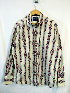 Wrangler-Men-039-s-Long-Sleeve-Pearl-Snap-Up-Southwestern-Print-Shirt-Size-XL