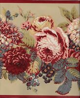 Laura Ashley Country Floral On Tan With Red Trim Wallpaper Border