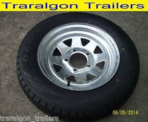wheel-tyre-package-galvanised-155-R13C-5-stud-suit-HT-holden-boat-trailer-WH1