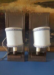 Details About Mclean Lighting 2 Wall Sconces Blue Shades 12 Vintage Antique