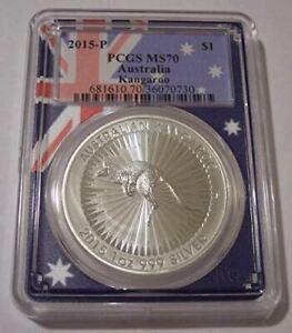 Australia 2015 P 1 oz Silver Dollar Kangaroo MS70 PCGS Flag Frame Holder