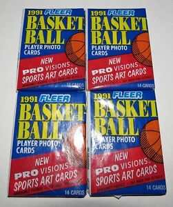 1991-92-Fleer-NBA-Basketball-14-Card-Wax-Pack-x-4-Brand-New-from-the-Box