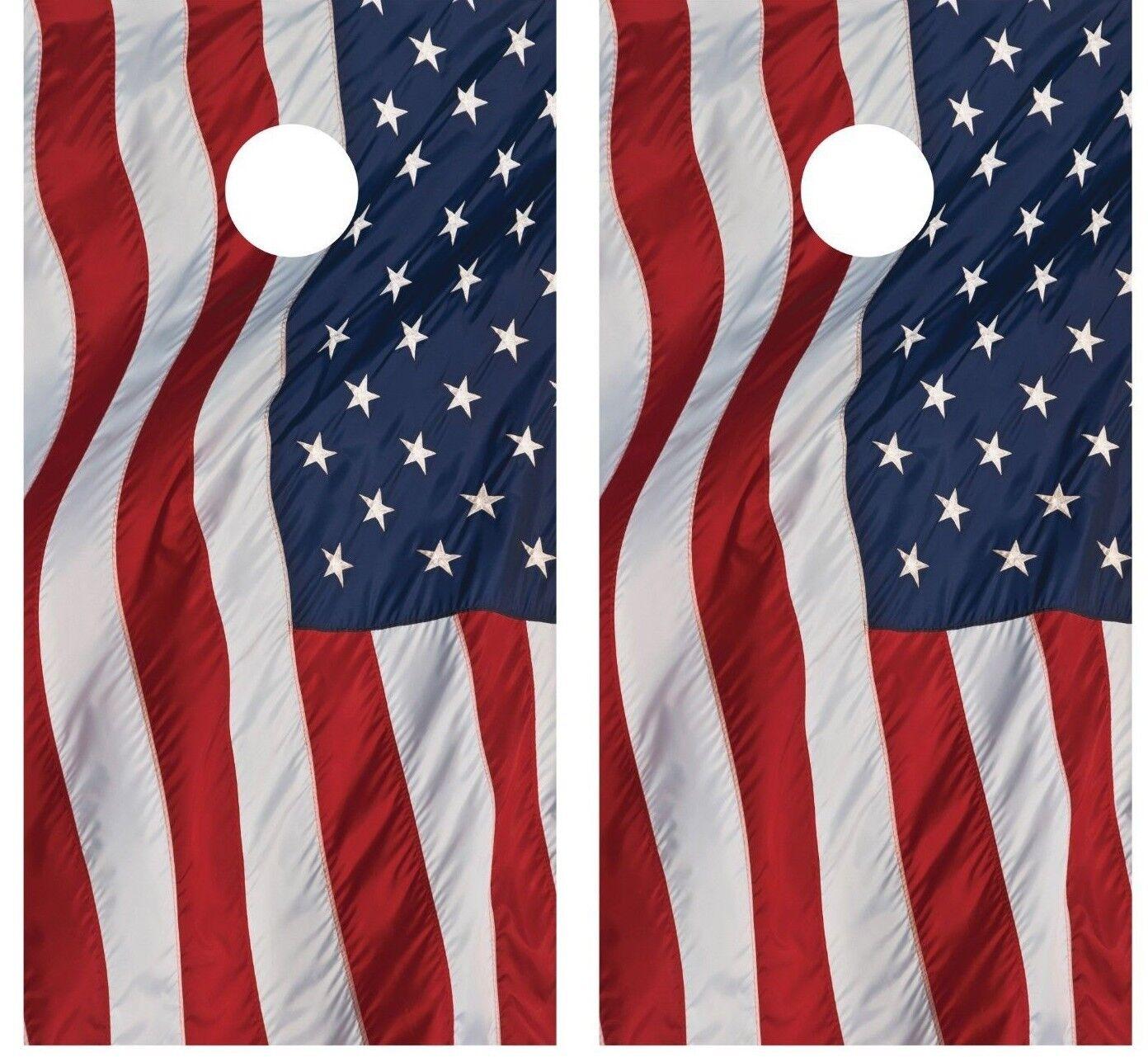 American Flag Waving Cornhole Board Wraps Decals Skins