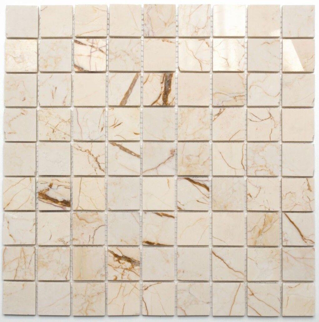 Mosaïque carreau marbre pierre crème or structure poli 42-32-2807_f   10 plaques
