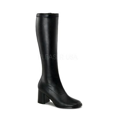 "Funtasma 3"" Block Heel Matte Black Stretch Knee Boots GoGo Goth Cosplay 5-16"