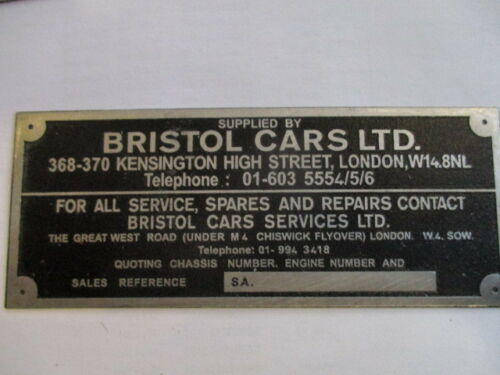 Nameplate Bristol Cars 400 401 402 403 404 405 406 407 408 409 410 s26