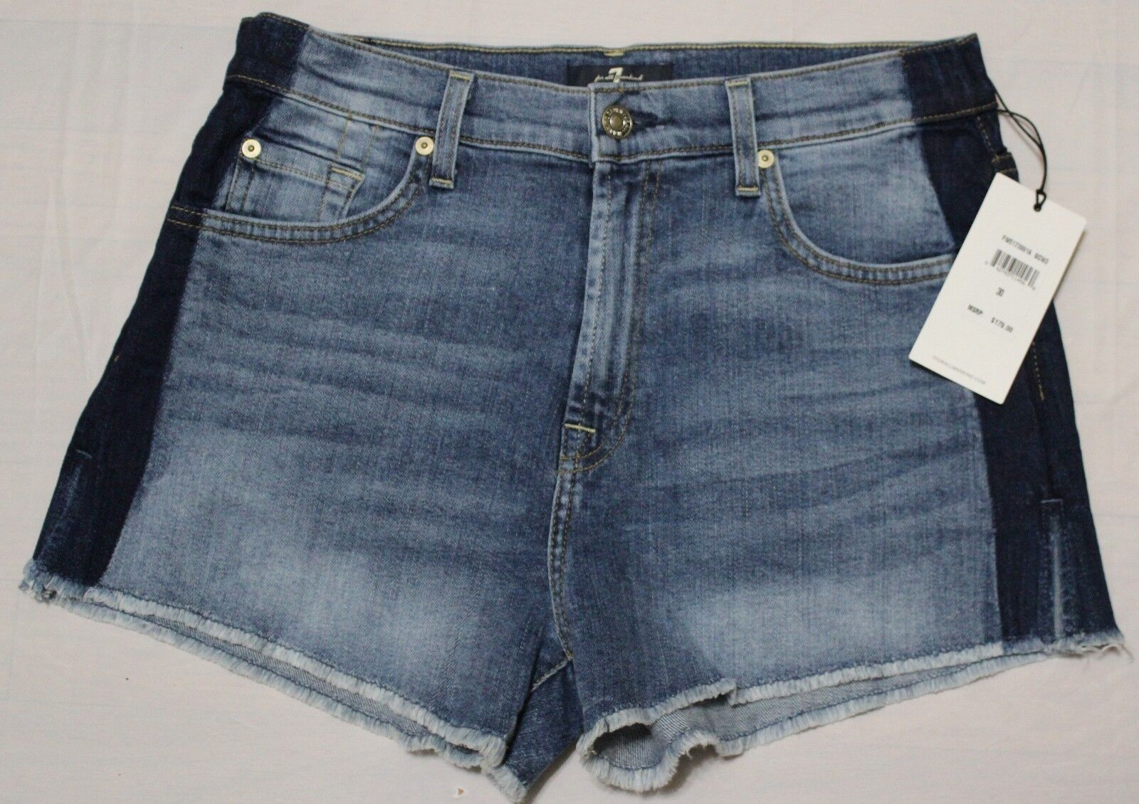 179 7 FOR ALL MANKIND TWO TONE DENIM SHORT US 30