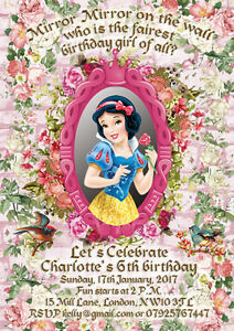 Details About 10 X Personalised Birthday Party Invitations Thank You Cards Snow White