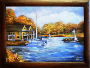 Painting-Port-Handmade-Oil-Painting-Picture-Oil-Ships-Frame-Pictures-G15697