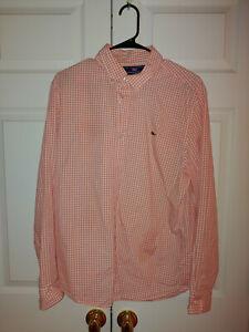 Men Vineyard Vines Orange Gingham Slim Fit Long Sleeve Button Down Shirt Size L