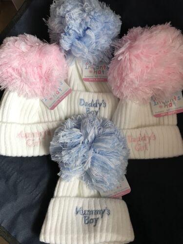 Babies en tricot Pom Pom Pompon Chapeau Bleu Blanc//Rose Garçons Filles 0-12 brodé