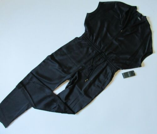 Satin neck Zip Lauren 8 Nwt Draped Polo Jumpsuit Ralph Front Black In V TBzFtS