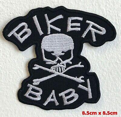 Biker Baby Skull Crossbone Biker Iron Sew on Embroidered Patch applique