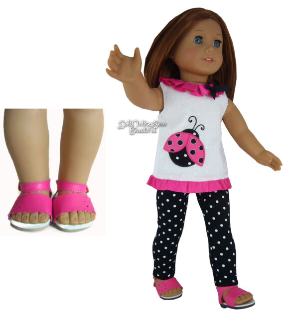 "3 Piece Ladybug Outfit INCLUDES SANDALS  for 18"" American Girl Dolls"