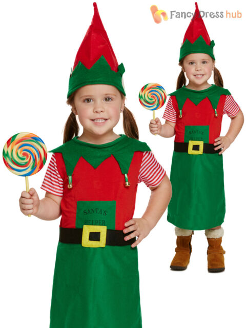 Children/'s Boys Girls Christmas Elf Nativity Fancy Dress Costume Ages 4-12