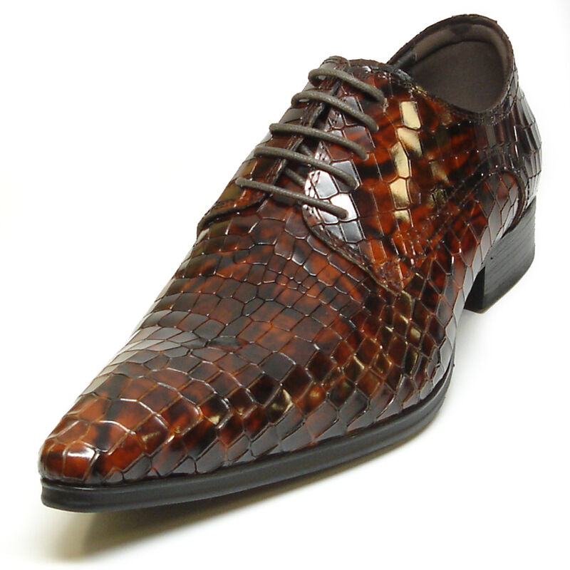 FI-3243 Brown Encore by Fiesso Alligator Print Leather shoes Lace up