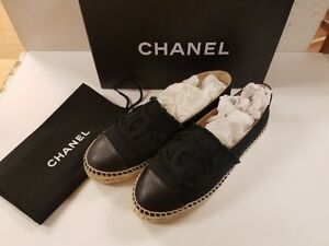 64b7118bc86 Details about NIB CHANEL CC LOGO ESPADRILLES FLAT SHOES BLACK CANVAS /  BLACK LEATHER TOE 36