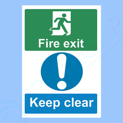 Fire Emergency ALL SIZES FIRE EXIT KEEP CLEAR sign Self Adhesive Sticker