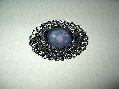 Vintage Oval Art Deco Antique Silvertone & Purple & Blue Stone Brooch Pin