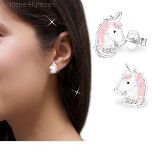 Kette Rosa Einhorn Ohrringe Anhänger 925 Echt Silber Mädchen Kinder Set