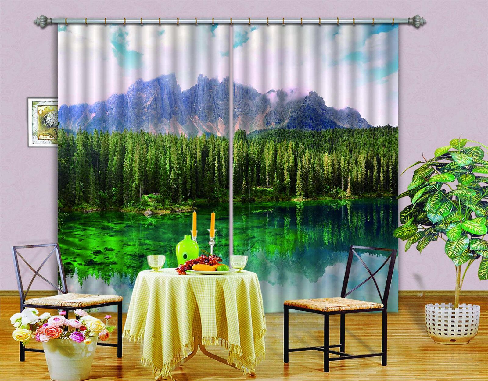 3D Bosque Lago Blockout impresión de fotografías Cortina Cortinas De Tela Cortinas Ventana CA