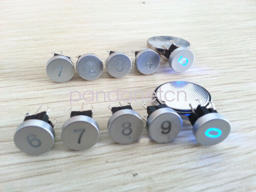 6*6mm 10 Numbers 0-9 Blue Led Dia 10mm Cap 12V Momentary Tact Push Button Switch