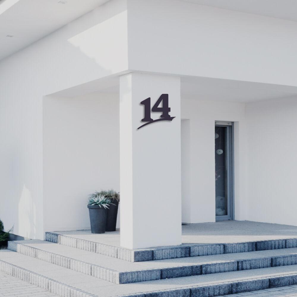 Hausnummer 14 aus Acrylglas,Farbe Anthrazitgrau,6mm stark,3D Nummer,von ALEZZIO®