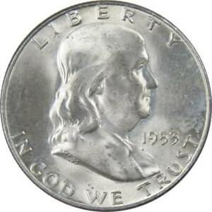 1953-D-50c-Franklin-Silver-Half-Dollar-US-Coin-AU-About-Uncirculated