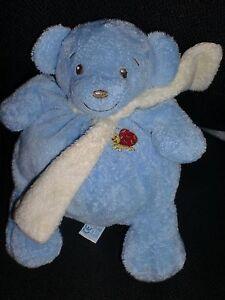 doudou-peluche-ours-bleu-echarpe-jaune-coccinelle-NOUNOURS-23cm