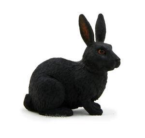 Mojo-Fun-387029-Black-Rabbit-Realistic-Model-Toy-Hare-Pet-Bunny-Animal-NIP