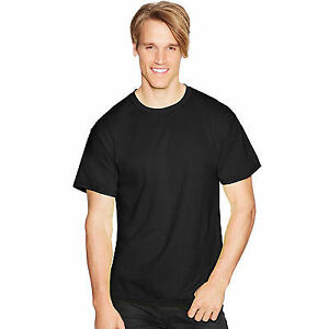 f14a7f87df2f Hanes Mens Short Sleeve Comfortblend Ecosmart T Shirt 5170 Black Large