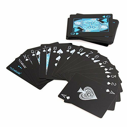 54pcsdeck Poker Waterproof Plastic PVC Playing Cards Set Pure Color black Poker