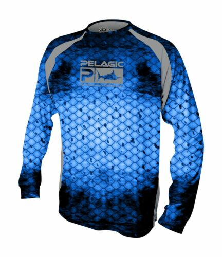 Pelagic Vaportek Performance Long Sleeve Fishing Shirt Dorado Blue 1015181003