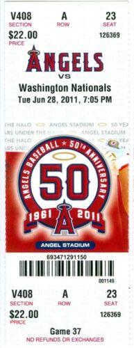 Erick Aybar 2011 Angels vs Nationals Ticket Vernon Wells /& Hank Conger HR