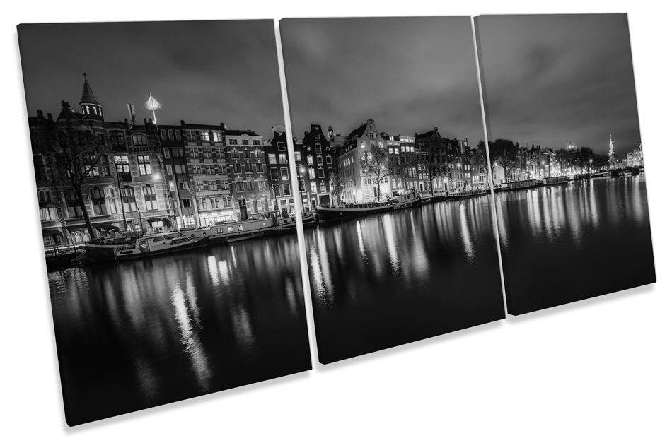 Amsterdam City Night Skyline B&W TREBLE CANVAS WALL ART Print Picture