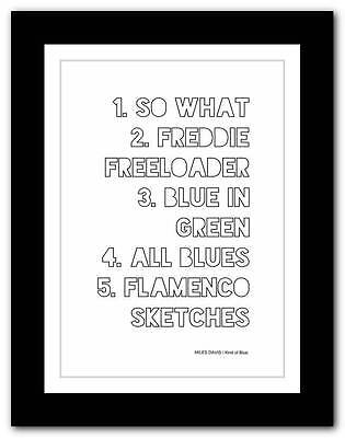 ❤ MILES DAVIS - Kind of Blue ❤ typography poster art print - A3 A2 A1 A4