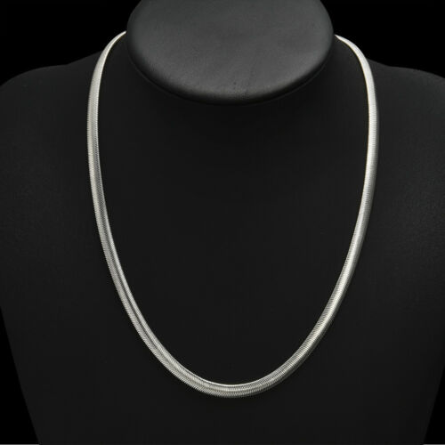 925 Sterling Solid Silver Jewelry 6MM Snake Chain Women Men 16-24 inch Necklace