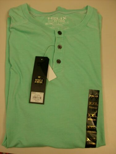 Helix ICE GREEN SS Burnout Henley 3 Button T-Shirt XX-LARGE