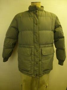 Womens Gray Cabelas Down Puffer Button Zip Up Jacket Coat