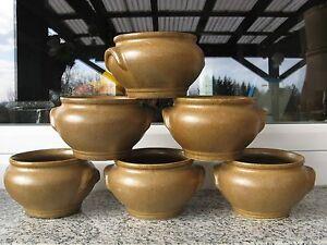 6 Bols à Bouillon Soupe Gres Brun 8 Cm Hauteur Brillant En Couleur