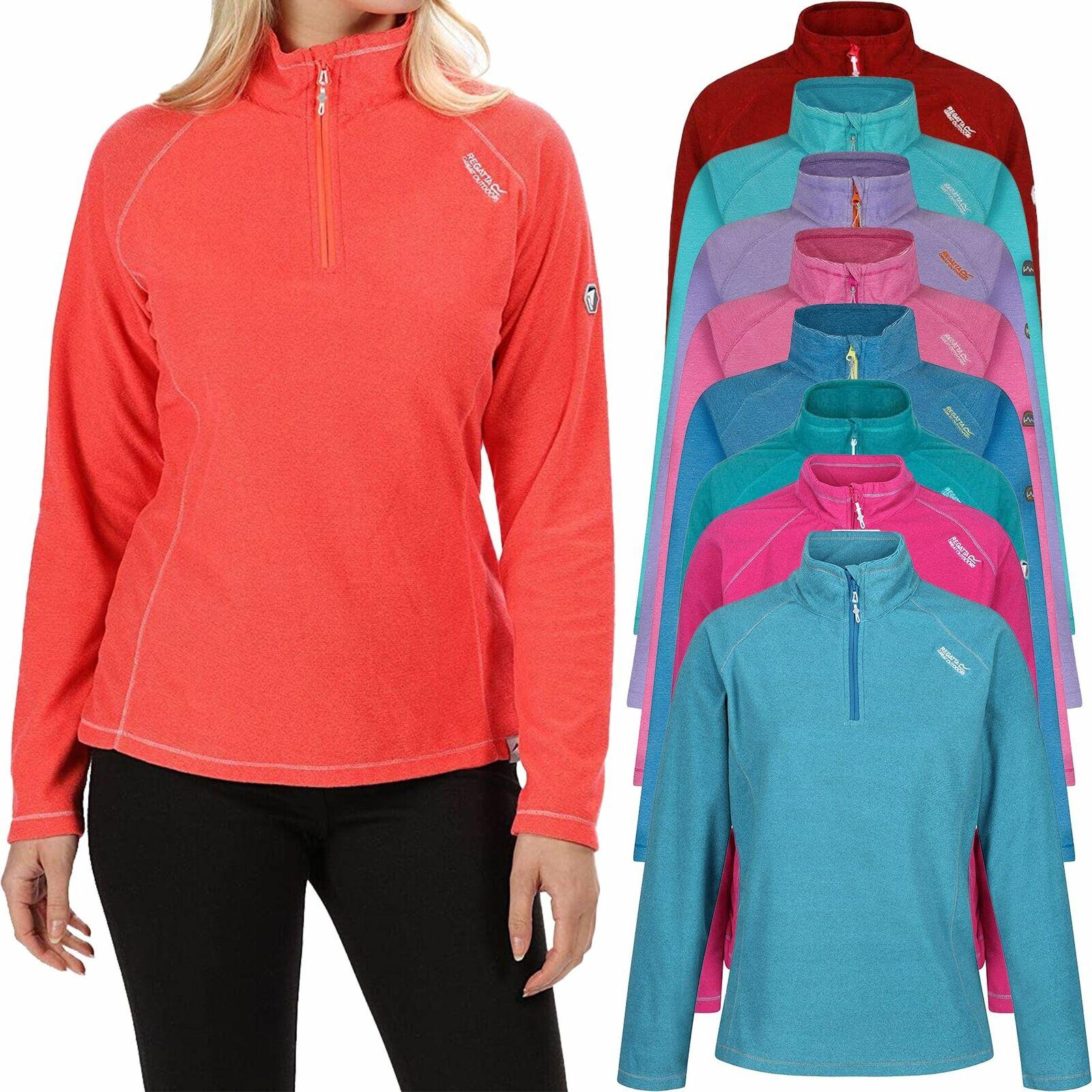 New Regatta Ladies Womens Montes Micro Fleece Half Contrast Zip Pullover 6-24