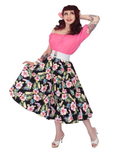 What Did Women Wear in the 1950s? 1950s Fashion Guide    1950s Style Vivien of Holloway Circle Skirt Black Hawaiian Tiki Hula Pin-Pp £69.00 AT vintagedancer.com