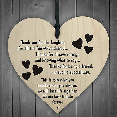 Friendship Sign Best Friend Plaque Gift Shabby Chic Wood Hanging Heart Thank You