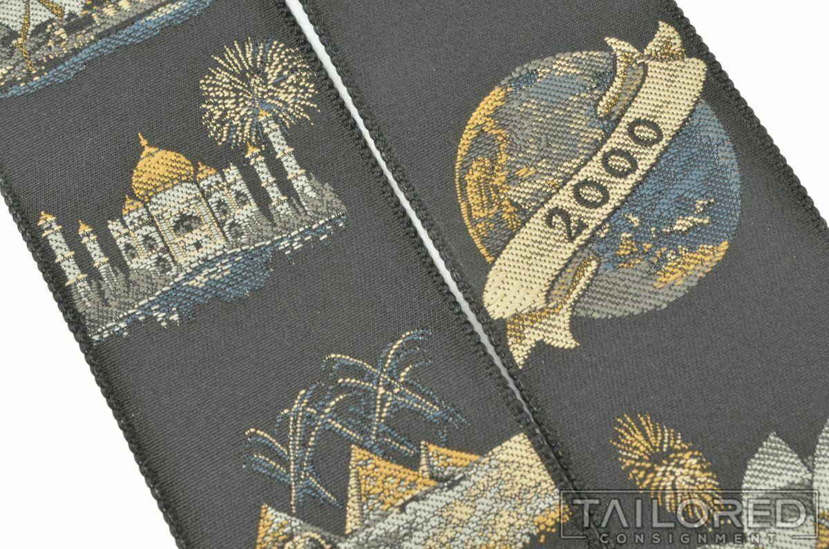 TRAFALGAR Limited Edition MILLENNIUM 2000 Y2K Silk Braces Suspenders RARE