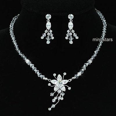 Dynamisch Hochzeit Handgefertigt Kristall Silber Vernickelt Halskette Ohrringe Satz S1221 SchöN Und Charmant Hochzeitsschmuck Brautschmuck