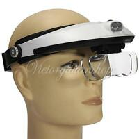 5 Lens: 1.0X 1.5X 2.0X 2.5X 3.5X Headband Magnifier Magnifying Glass Loupe 2 LED