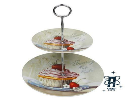 VINTAGE RETRO STYLE STRAWBERRY TWO TIER CUPCAKE STAND NEW IN GIFT BOX