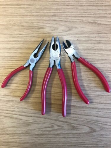 3pc 150 mm Pliers Set Combination Straight Long Nose Side Cutter Cutting Pliers