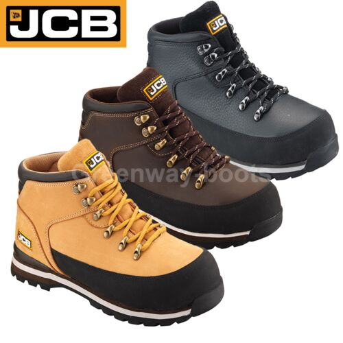 JCB 3CX LIGHTWEIGHT MENS S3 LEATHER SAFETY WORK BOOTS STEEL TOE CAP WIDE FIT SZ