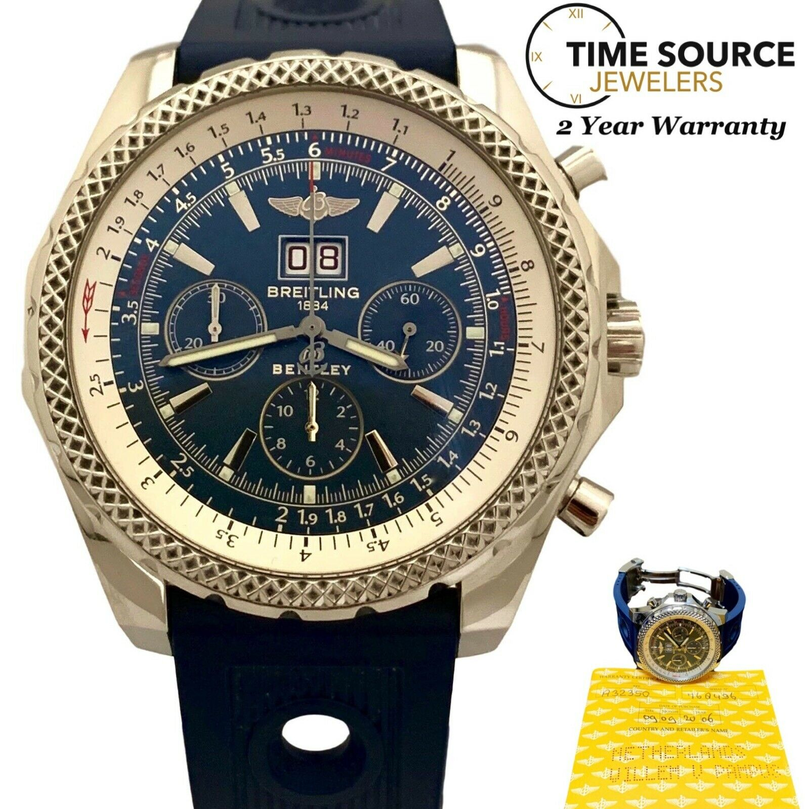 Breitling Bentley 6 75 A44362 Stainless Steel Automatic Men S Watch For Sale Online Ebay